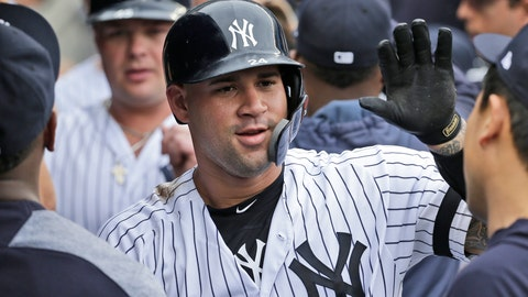 <p>               New York Yankees' Gary Sanchez celebrates with teammates after hitting a three-run homer during the first inning of a baseball game against the Tampa Bay Rays at Yankee Stadium, Wednesday, June 19, 2019, in New York. (AP Photo/Seth Wenig)             </p>