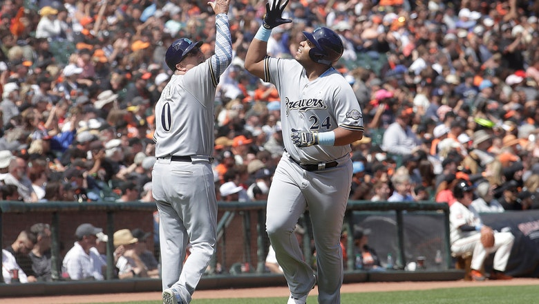 Thames, Aguilar help Brewers hold of Giants 5-3