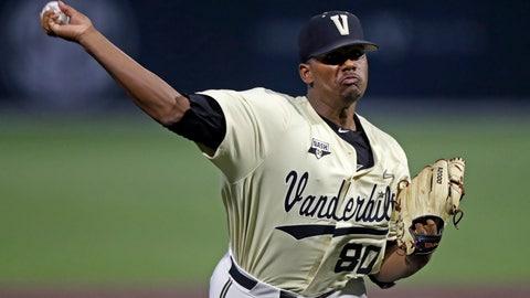 <p>               Vanderbilt's Kumar Rocker throws to a Duke batter in the first inning of an NCAA college baseball tournament super regional game Saturday, June 8, 2019, in Nashville, Tenn. (AP Photo/Wade Payne)             </p>