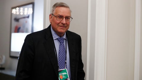 <p>               FILE - In this May 22, 2019 file photo, Terry Pegula, arrives to the NFL football owners meeting in Key Biscayne, Fla.  Rather than fullfilling his promise of delivering Buffalo a championship, Pegula has instead overseen a team that's endured fitful starts and stops, gone through a revolving door of players and coaches, and is in the midst of a franchise-worst eight-year playoff drought, the NHL's longest active streak.  (AP Photo/Brynn Anderson, File )             </p>