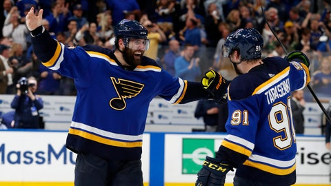 <p>               FILE - In this May 7, 2019, file photo, St. Louis Blues left wing Pat Maroon, left, and right wing Vladimir Tarasenko (91) celebrate the team's 2-1 win against the Dallas Stars in two overtimes in Game 7 of an NHL second-round hockey playoff series in St. Louis. Maroon had other offers for more money and more years but chose to sign with his hometown St. Louis Blues. (AP Photo/Jeff Roberson, File)             </p>
