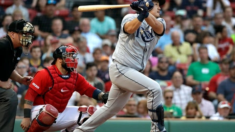 <p>               Tampa Bay Rays' Ji-Man Choi watches a solo home run in front of Boston Red Sox catcher Sandy Leon during the second inning of a baseball game at Fenway Park, Friday, June 7, 2019, in Boston. (AP Photo/Elise Amendola)             </p>