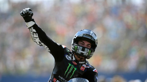 <p>               Spain's rider Maverick Vinales of the Monster Energy Yamaha MotoGP celebrates after winning the MotoGP race during the Dutch Grand Prix in Assen, northern Netherlands, Sunday, June 30, 2019. (AP Photo/Peter Dejong)             </p>