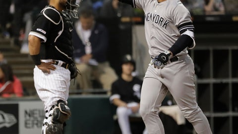<p>               New York Yankees' Gleyber Torres, right, celebrates after hitting a two-run home run as Chicago White Sox Welington Castillo looks to the field during the fourth inning of a baseball game in Chicago, Saturday, June 15, 2019. (AP Photo/Nam Y. Huh)             </p>