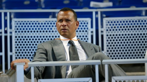 "<p>               FILE - In this June 23, 2017, file photo, former baseball player Alex Rodriguez sits in the stands before the start of a baseball game in Miami. Rodriguez said he is happy with the improvements he has made in his second year in the booth for ESPN's ""Sunday Night Baseball"", but he is looking to get better during the second half of the season. (AP Photo/Wilfredo Lee, File)             </p>"