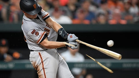 <p>               San Francisco Giants' Buster Posey breaks his bat during the sixth inning of a baseball game against the Baltimore Orioles, Friday, May 31, 2019, in Baltimore.  (AP Photo/Nick Wass)             </p>