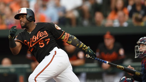 <p>               Baltimore Orioles' Hanser Alberto follows through on a two-run double against the Cleveland Indians in the first inning of a baseball game Friday, June 28, 2019, in Baltimore. (AP Photo/Gail Burton)             </p>