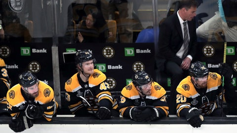 <p>               Boston Bruins players and head coach Bruce Cassidy, right rear, watch the final minutes in Game 5 of the NHL hockey Stanley Cup Final against the St. Louis Blues, Thursday, June 6, 2019, in Boston. (AP Photo/Charles Krupa)             </p>