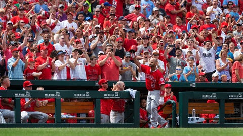 <p>               Los Angeles Angels' Albert Pujols waves to fans after getting a curtain call when he hit a home run during seventh inning of a baseball game against the St. Louis Cardinals, Saturday, June 22, 2019, in St. Louis. (AP Photo/L.G. Patterson)             </p>