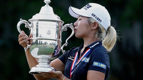 <p>               Jeongeun Lee6 of South Korea, kisses the championship trophy after winning the final round of the U.S. Women's Open golf tournament, Sunday, June 2, 2019, in Charleston, S.C. (AP Photo/Mic Smith)             </p>