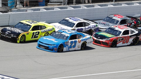 <p>               Paul Menard (12) leads the field at the start of the NASCAR Xfinity Series auto race at Michigan International Speedway, Saturday, June 8, 2019, in Brooklyn, Mich. (AP Photo/Carlos Osorio)             </p>