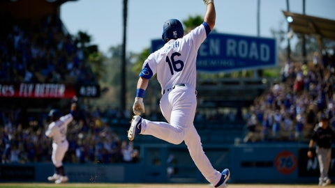 <p>               Los Angeles Dodgers' Will Smith (16) celebrates along with Russell Martin, back left, as he rounds first after hitting a two-run walkoff home run during the ninth inning of a baseball game against the Colorado Rockies, Sunday, June 23, 2019, in Los Angeles. (AP Photo/Mark J. Terrill)             </p>