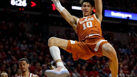 <p>               FILE - In this Feb. 2, 2019, file photo, Texas forward Jaxson Hayes (10) dunks the ball over Iowa State guard Nick Weiler-Babb, left, during the first half of an NCAA college basketball game, in Ames, Iowa. Hayes needed only a year at Texas to put himself at the front of the class of big men in the NBA draft coming Thursday, June 20, 2019. (AP Photo/Charlie Neibergall, File)             </p>
