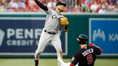 <p>               Chicago White Sox second baseman Yolmer Sanchez, left, throws to first base for a double play after forcing out Washington Nationals' Brian Dozier on Victor Robles's ground ball in the second inning of an interleague baseball game, Tuesday, June 4, 2019, in Washington. (AP Photo/Patrick Semansky)             </p>