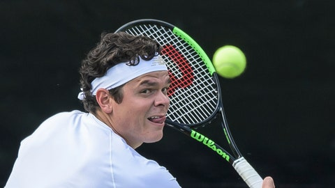 <p>               Canada's Milos Raonic returns the ball to Jo-Wilfried Tsonga of France during their match at the ATP tennis event in Stuttgart, Germanany Wednesday June 12, 2019. (Silas Stein/dpa via AP)             </p>