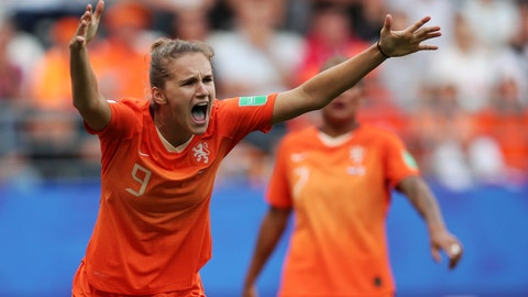 <p>               Netherlands' Vivianne Miedema reacts to a call during the Women's World Cup Group E soccer match between the Netherlands and Canada at Stade Auguste-Delaune in Reims, France, Thursday, June 20, 2019. (AP Photo/Francisco Seco)             </p>