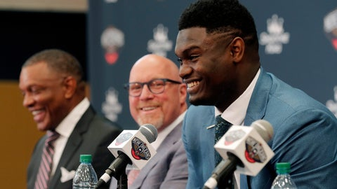<p>               New Orleans Pelicans first-round NBA draft pick Zion Williamson, right, laughs at his introductory news conference at the team's practice facility in Metairie, La., Friday, June 21, 2019. Head coach Alvin Gentry, left, and executive vice president of basketball operations David Griffin, center, look on. (AP Photo/Gerald Herbert)             </p>