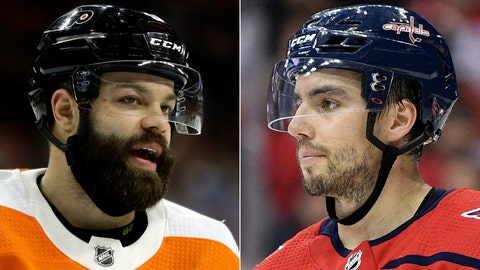 <p>               FILE - At left is a 2019 file photo showing Philadelphia Flyers NHL hockey player Radko Gudas. At right is a 2018 file photo showing Washington Capitals' Matt Niskanen. The Philadelphia Flyers have acquired defenseman Matt Niskanen from the Washington Capitals for defenseman Radko Gudas. Capitals general manager Brian MacLellan said Friday, June 14, 2019, the deal gives the team financial flexibility. (AP Photo/File)             </p>