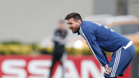 <p>               Argentina's Lionel Messi attends a training session of the national soccer team in Buenos Aires, Argentina, Wednesday, June 5, 2019, ahead of the Copa America in neighboring Brazil.(AP Photo/Natacha Pisarenko)             </p>