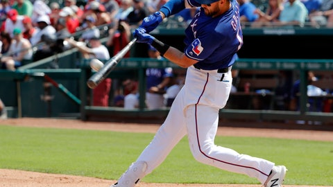 <p>               Texas Rangers' Joey Gallo connects for a two-run home run on a pitch from Kansas City Royals' Homer Bailey in the fourth inning of a baseball game in Arlington, Texas, Saturday, June 1, 2019. Hunter Pence scored on the shot by Gallo. (AP Photo/Tony Gutierrez)             </p>