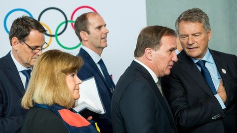 <p>               Swedish Prime Minister Stefan Lofven, right, reacts next to Gunilla Lindberg, IOC member of Sweden, left, during the first day of the 134th Session of the International Olympic Committee (IOC), at the SwissTech Convention Centre, in Lausanne, Switzerland, Monday, June 24, 2019. The host city of the 2026 Olympic Winter Games will be decided during the134th IOC Session. Stockholm-Are in Sweden and Milan-Cortina in Italy are the two candidate cities for the Olympic Winter Games 2026. (Jean-Christophe Bott/Keystone via AP)             </p>