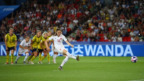 PARIS, FRANCE - JUNE 24: Janine Beckie of Canada takes a penalty which is then saved by Hedvig Lindahl of Sweden (not pictured) during the 2019 FIFA Women's World Cup France Round Of 16 match between Sweden and Canada at Parc des Princes on June 24, 2019 in Paris, France. (Photo by Richard Heathcote/Getty Images)