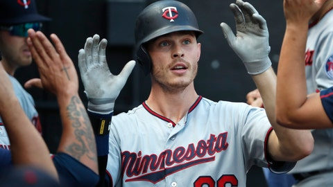 <p>               Minnesota Twins' Max Kepler (26) celebrates in the dugout after hitting his second home run of the day against the Chicago White Sox during the seventh inning of a baseball game Saturday, June 29, 2019, in Chicago. (AP Photo/Jeff Haynes)             </p>