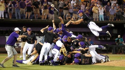 <p>               East Carolina players celebrate after the team's 12-3 victory over Campbell to win an NCAA college baseball regional final, Monday, June 3, 2019, in Greenville, N.C. (Ethan Hyman/The News & Observer via AP)             </p>