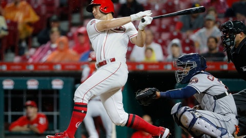 <p>               Cincinnati Reds' Nick Senzel hits a two-run single off Houston Astros starting pitcher Wade Miley in the fifth inning of a baseball game, Monday, June 17, 2019, in Cincinnati. (AP Photo/John Minchillo)             </p>