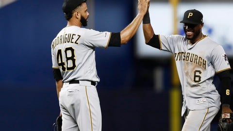 <p>               Pittsburgh Pirates center fielder Starling Marte (6) celebrates with relief pitcher Richard Rodriguez (48) after their win over the Miami Marlins, Friday, June 14, 2019, in Miami. (AP Photo/Brynn Anderson)             </p>