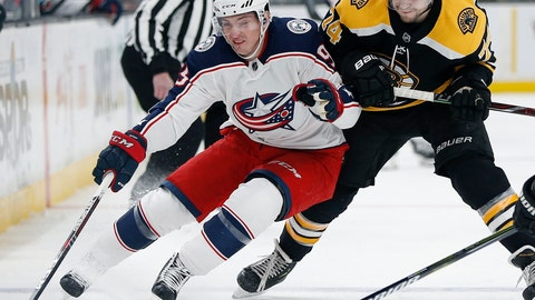 <p>               FILE - In this March 16, 2019, file photo,  Columbus Blue Jackets' Matt Duchene, left, battles Boston Bruins' Jake DeBrusk (74) for the puck during the first period of an NHL hockey game in Boston. Duchene is one of the top players available in free agency.(AP Photo/Michael Dwyer, File)             </p>