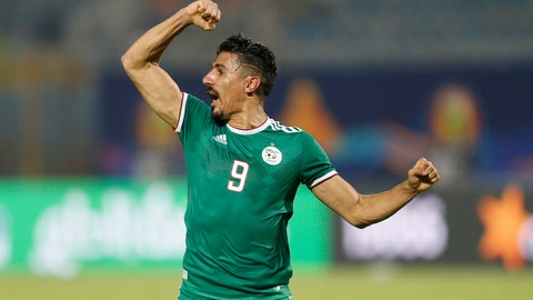 <p>               Algeria's Baghdad Bounedjah celebrates at the end of the African Cup of Nations group C soccer match between Algeria and Senegal at 30 June Stadium in Cairo, Egypt, Thursday, June 27, 2019. (AP Photo/Ariel Schalit)             </p>