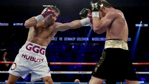 <p>               FIle - In this Sept. 15, 2018, file photo, Gennady Golovkin lands a punch against Canelo Alvarez during a middleweight title boxing match, in Las Vegas. Golovkin has been one of his generation's best champions. His two bouts with Canelo Alvarez were classics, and a third could be coming later in 2019 if Triple G takes care of Steve Rolls. (AP Photo/Isaac Brekken, File)             </p>
