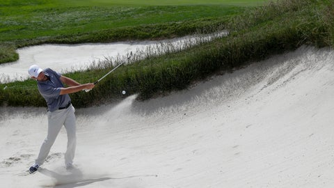<p>               Brooks Koepka hits out of the bunker on the first hole during a practice round for the U.S. Open Championship golf tournament Tuesday, June 11, 2019, in Pebble Beach, Calif. (AP Photo/Matt York)             </p>