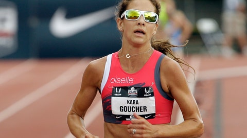 <p>               FILE - In this June 28, 2015, file photo, Kara Goucher runs in the 5,000-meter event at the U.S. Track and Field Championships in Eugene, Ore. She's taking part in her first trail marathon this weekend in Leadville, Colorado, on a route that ascends as high as 13,185 feet. (AP Photo/Don Ryan, File)             </p>