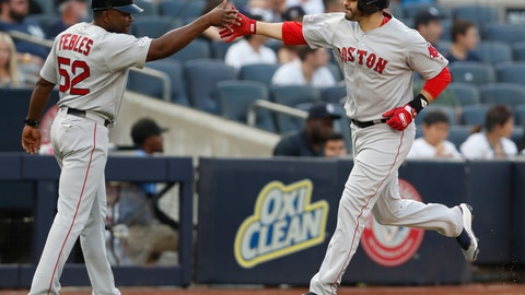 <p>               Boston Red Sox's J.D. Martinez, right, celebrates his solo home run with third base coach Carlos Febles during the first inning of a baseball game against the New York Yankees, Sunday, June 2, 2019, in New York. (AP Photo/Kathy Willens)             </p>