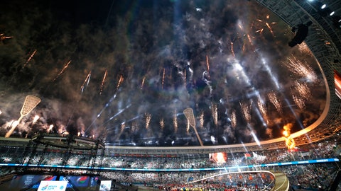 <p>               Fireworks explode above the stadium during the opening ceremony of the Second European Games in Minsk, Belarus, Saturday, June 22, 2019. The event will run from June 21 to June 30. (AP Photo/Sergei Grits)             </p>