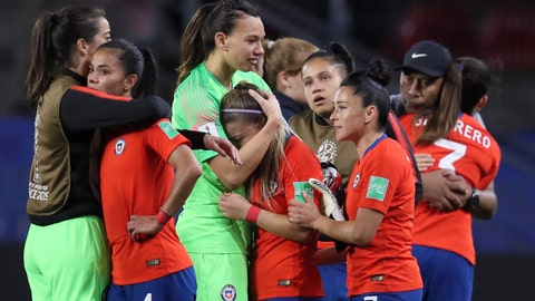 <p>               Chile players react at the end of the Women's World Cup Group F soccer match between Thailand and Chile at the Roazhon Park in Rennes, France, Thursday, June 20, 2019. Chile won 2-0, one goal short of the win by three goals difference needed to qualify for the next round. (AP Photo/David Vincent)             </p>