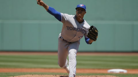 <p>               Toronto Blue Jays' Marcus Stroman delivers a pitch against the Boston Red Sox in the first inning of a baseball game in Boston, Sunday, June 23, 2019. (AP Photo/Steven Senne)             </p>