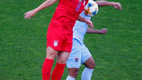 <p>               United States' Julie Ertz heads the ball away from Thailand's Kanjana Sung-Ngoen during the Women's World Cup Group F soccer match between the USA and Thailand at the Stade Auguste-Delaune in Reims, France, Tuesday, June 11, 2019. (AP Photo/Francois Mori)             </p>