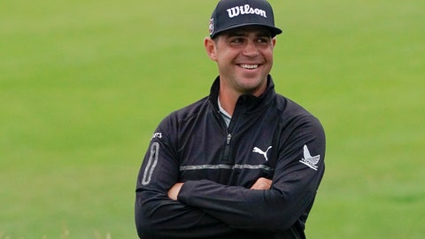 <p>               Gary Woodland smiles after finishing the second round in the U.S. Open golf tournament Friday, June 14, 2019, in Pebble Beach, Calif. (AP Photo/Carolyn Kaster)             </p>
