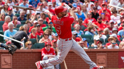 <p>               Los Angeles Angels' Albert Pujols hits a home run during seventh inning of a baseball game against the St. Louis Cardinals, Saturday, June 22, 2019, in St. Louis. (AP Photo/L.G. Patterson)             </p>