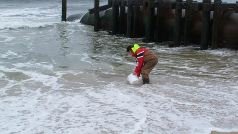 <p>               This May 30, 2019 photo shows Skye Post, who will be a junior at Monmouth University this fall, taking an ocean water sample near a storm drain outfall pipe on the beach in Long Branch, N.J. University researchers are studying the relationship between heavy rainfall and elevated levels of bacteria from animal waste that gets flushed into storm sewers and out in the ocean at popular surfing beaches at the Jersey shore.(AP Photo/Wayne Parry)             </p>