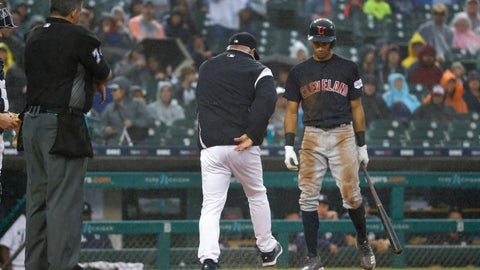 <p>               Detroit Tigers manager Ron Gardenhire kicks at the dirt near Cleveland Indians' Oscar Mercado after being ejected by home plate umpire Manny Gonzalez during the sixth inning of a baseball game in Detroit, Saturday, June 15, 2019. (AP Photo/Paul Sancya)             </p>