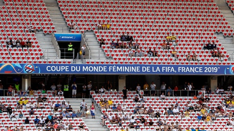 <p>               Spectators follow the Women's World Cup Group F soccer match between Sweden and Thailand at the Stade de Nice in Nice, France, Sunday, June 16, 2019. (AP Photo/Claude Paris)             </p>