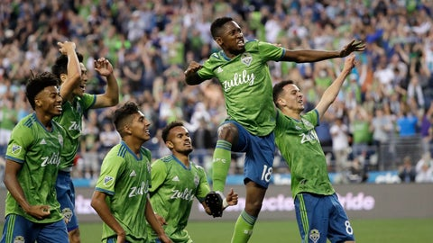 <p>               Seattle Sounders' Kelvin Leerdam (18) leaps and pumps his fist after scoring against the Vancouver Whitecaps late in the second half of an MLS soccer match Saturday, June 29, 2019, in Seattle. The Sounders won 1-0. (AP Photo/Elaine Thompson)             </p>