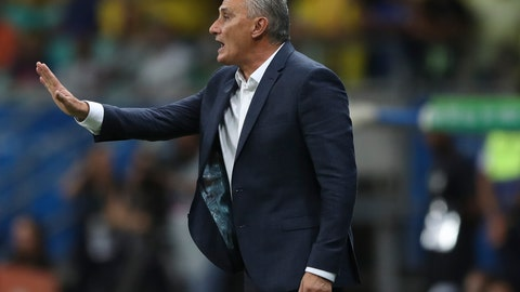 <p>               Brazil's coach Tite gives instructions to his players during a Copa America Group A soccer match against Venezuela at the Arena Fonte Nova in Salvador, Brazil, Tuesday, June 18, 2019. (AP Photo/Ricardo Mazalan)             </p>