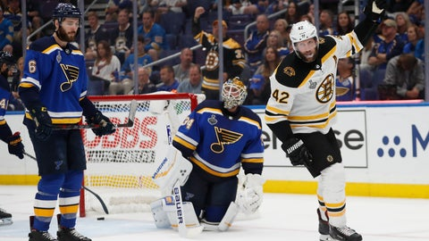 <p>               Boston Bruins right wing David Backes (42) celebrates after a shot by teammate Marcus Johansson, not shown, got past St. Louis Blues goaltender Jake Allen (34) for a score during the third period of Game 3 of the NHL hockey Stanley Cup Final Saturday, June 1, 2019, in St. Louis. The Bruins won 7-2 and lead the series 2-1. At left is Blues' defenseman Joel Edmundson (6). (AP Photo/Jeff Roberson)             </p>