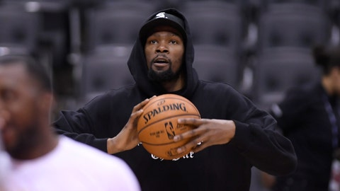 <p>               Golden State Warriors Kevin Durant watches during basketball practice at the NBA Finals in Toronto, Saturday, June 1, 2019. (Nathan Denette/The Canadian Press via AP)             </p>