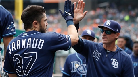 <p>               Tampa Bay Rays' Travis d'Arnaud is greeted by hitting coach Chad Mottola after hitting a two-run home run during the fourth inning of a baseball game against the Detroit Tigers, Thursday, June 6, 2019, in Detroit. (AP Photo/Carlos Osorio)             </p>